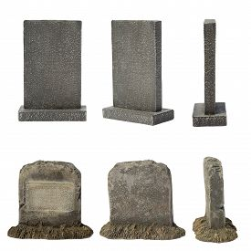 picture of tombstone  - Set of tombstone isolated on white background - JPG