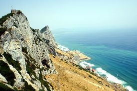 pic of gibraltar  - A view from the top of Gibraltar, United Kingdom ** Note: Shallow depth of field - JPG