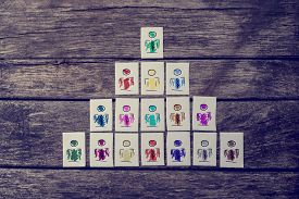 picture of human pyramid  - Leadership human resources and team management concept with a series of hand - JPG