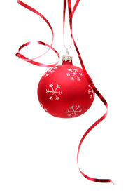 pic of christmas ornament  - red decorated christmas bulbs on a white background - JPG