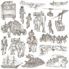 stock photo of freehand drawing  - TRANSPORT Transportation around the World  - JPG