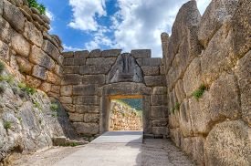 stock photo of lion  - The Lion Gate was the main entrance of the Bronze Age citadel of Mycenae - JPG