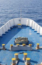 stock photo of passenger ship  - Large passenger ship bow in open sea - JPG