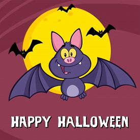 picture of vampire bat  - Funny Vampire Bat Cartoon Character Flying Greeting Card - JPG