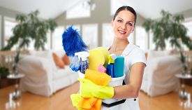 stock photo of maids  - Young smiling maid - JPG