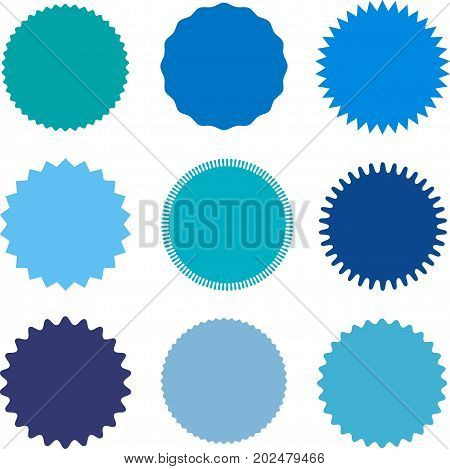 poster of Set of starburst, sunburst badges, labels, stickers. Different shades of blue color. Simple flat style. Vintage, retro. Design elements. A collection of different types icon. Vector illustration