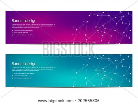 poster of Technological and scientific banners with structure of molecular particles and atom. Polygonal abstract background. Vector illustration
