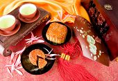 Chinese moon cake and tea-- food for Chinese mid-autumn festival