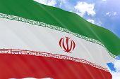 Постер, плакат: 3D Rendering Of Iran Flag Waving On Blue Sky Background
