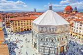 Above View  Cathedral Square Of Frorence (piazza Del Duomo)  In Florence And Baptistery Of San Giova poster