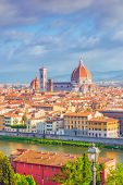 Beautiful Landscape Above, Panorama On Historical View Of The Florence From  Piazzale Michelangelo P poster