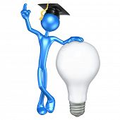 The Original 3D Character Graduate Illustration With A Light Bulb poster