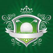 Golf, coroa, escudo, fundo verde