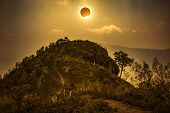 Scientific Natural Phenomenon. Total Solar Eclipse Glowing On Sky. poster