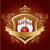 bowling,shield,crown,abstract background
