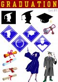 Vector graduation related illustrations set #1