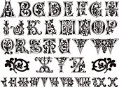11th century engraved ornamental alphabet and numerals