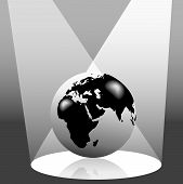 stock photo of eastern hemisphere  - Illustration of the Earth on stage in the spotlight - JPG