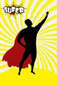 Super Hero Silhouette And Text Super In Retro Comic Pop Art Styl poster