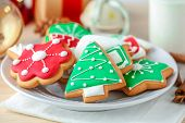 Tasty Christmas homemade cookies on plate poster