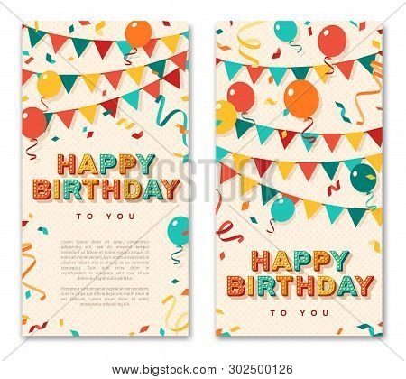 poster of Happy Birthday Greeting Cards, Vertical Banners With Retro Typography Design. Vector Illustration. 3