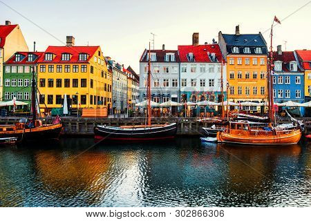 poster of View Of Famous Nyhavn Area In The Center Of Copenhagen, Denmark In The Morning