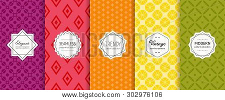 poster of Vector Geometric Seamless Pattern Collection. Set Of Bright Colorful Background Swatches With Elegan