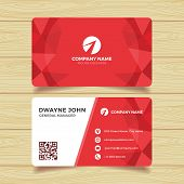 Red Geometric Business Card Template. Multipurpose Business Card For Any Types Of Agency, Corporate, poster
