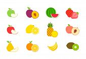 Big Set Of Fruits And Berries. Summer Fruit. Fruit Apple, Pear, Strawberry, Orange, Peach, Plum, Ban poster