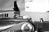 Lewis Hamilton Black & White Cockpit