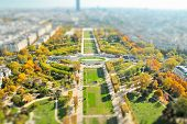 Selective Focus In Miniature Style. View From The Eiffel Tower On The Field Of Mars In Paris, Autumn poster