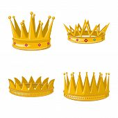 Vector Design Of Monarchy And Gold Logo. Set Of Monarchy And Heraldic Vector Icon For Stock. poster