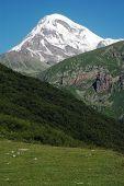 Mount Kazbek, Georgian Military Highway, Caucasus mountains, border between Georgia and Russia