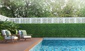 Swimming Pool Terrace In The Garden 3d Render,  There Are A Wooden Floor ,blue Tile In The Swimming  poster