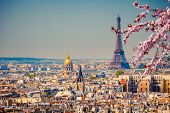View on Eiffel Tower in Paris at spring, France poster