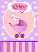 picture of sidecar  - beautiful pink card for girls with a sidecar - JPG