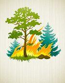 wildvuur ramp met branden bos boom en firtrees vectorillustratie op de textuur CHTERGRO
