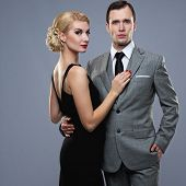 picture of gangster  - Retro couple on grey background - JPG
