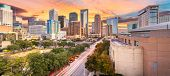 Houston, Texas, USA downtown park and skyline at twilight.  poster
