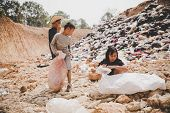 Poor Children Collect Garbage For Sale,, The Concept Of Pollution And The Environment,recycling Old poster
