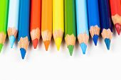 Set Of Colored Pencils. Colors Of Rainbow. Colored Pencils For Drawing Different Colors On A White B poster