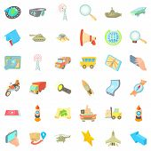 Navigation Tools Icons Set. Cartoon Set Of 36 Navigation Tools Icons For Web Isolated On White Backg poster