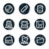 Drives and storage web icons, grunge circle buttons