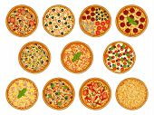 Collection Of Pizza With Various Ingredients. Margherita, Pepperoni, Seafood, Cheese, Vegetarian, Me poster