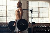 Muscular bald man doing weight lifting exercise at gym with copy space. Side view of fit african ame poster