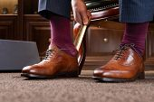 Trying new shoes. Man is putting on a new pair of luxury brown full grain leather shoes at footwear  poster