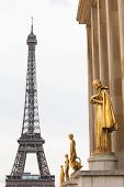 Eiffel Tower From The Trocadero Showing Gold Statues