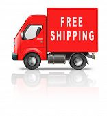 free shipping or deliver by red shipment truck concept for sending package from online web shop orde