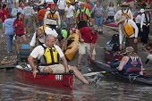 KANSAS CITY, KS - AUGUST 24: Kayak and canoes are launching at the start of 5th Missouri River 340 Race, August 24, 2010, at Kaw Point (confluence of Missouri and Kansas Rivers)