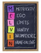 Non-productive aspects of workplace behavior and attitude - MELVIN acronym (Mediocrity, Ego, Limits,